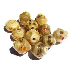 Handmade Lampwork Glass Pearl Beige Ribbed by PomegranateGlass, $25.00