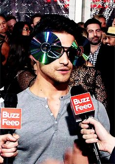 Tyler Posey Tries CD Glasses Flipping- People's Choice Red Carpet gif