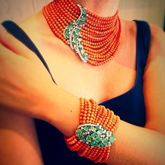 necklace and bracelet soft threads coral white gold diamonds emeralds made in Milano , Italy