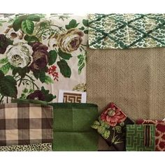 Karen Keysar family room fabrics in green & brown prints, checks & patterns (Neutral sofa, brown buffalo check chair slips w/green welt, C&T Bailey Rose, Parish-Hadley trellis)