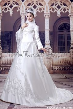 Long Sleeves Arab Wedding Dresses with High Neckline $198.00