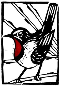 Lino print, bird - The red on the throat was stamped on later with a separate block. Linocut Prints, Art Prints, Block Prints, Silhouettes, Stencil, Linoprint, Illustration, Arte Popular, Art Graphique