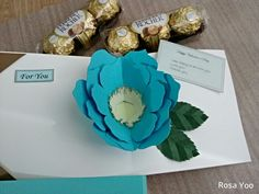 blue rose pop up card, for happy valentine's day, by Rosa Yoo
