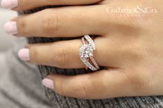 Gabriel & Co.-Voted #1 Most Preferred Fine Jewelry and Bridal Brand.  Meet Zaira - 14k White/Rose Gold Round Free Form Engagement Ring.. ideal for the woman who always stands out from the crowd.