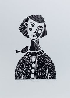 The Gossip, Linocut print, Limited Edition