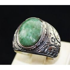 Sterling Silver 925 men ring , real natural emerald stone