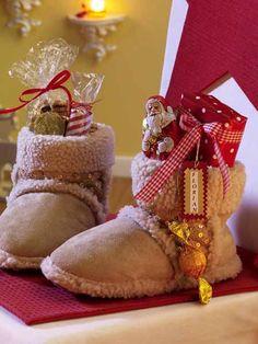 Christmas slippers- alternative to Christmas stockings. Noel Christmas, Country Christmas, Diy Christmas Gifts, All Things Christmas, Winter Christmas, Christmas Stockings, Christmas Decorations, Christmas Ideas, Secret Santa Christmas Gifts