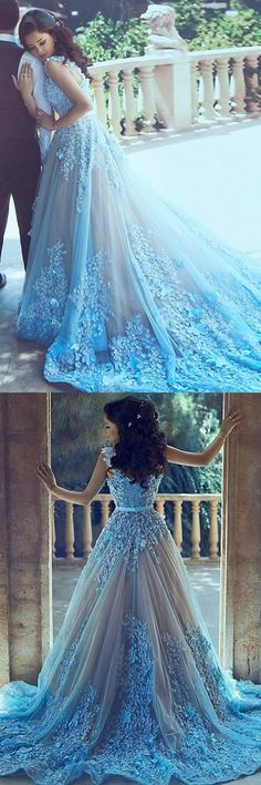 dreamy blue prom party dresses with court train appliques, fashion formal gowns for special occasion.