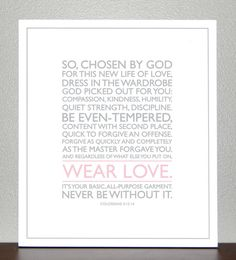 Baptism Gift  Colossians 3 1214  Wear Love  by CreativeWildChild, $20.00
