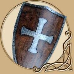LARP Templar shield. Looks like wood and metal it's actually durable foam.
