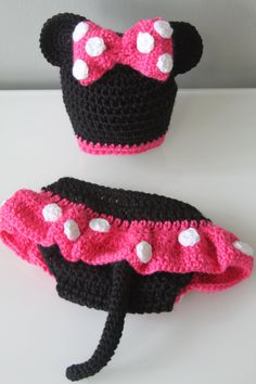 Minnie Mouse Crochet Hat Diaper Cover   Photo by sebbysgrandma, $39.00