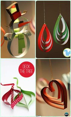 DIY Easy Stapled Paper Ornament Instruction- DIY Paper Christmas Tree Ornament Craft Ideas