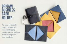 Origami business card holder tutorial - quick and simple origami project to help… Origami Swan, Origami Paper, Diy Paper, Paper Art, Paper Crafts, Diy Crafts, Origami Flowers, Business Card Holders, Business Cards