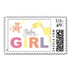 Baby Shower Postage | Jungle Animals for Girl