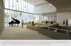 Prêmio Secil Universidades – Arquitetura: Centro Multifuncional e Residência de Estudantes  / Simão Silveira Botelho,Átrio de entrada - piso 1