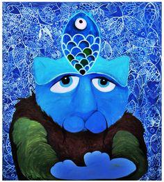 Blue Cat / Cattoman Empire                  Oil on Canvas 120x120cm.