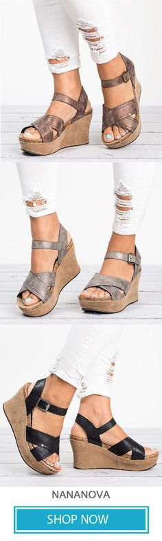 9c231322fd95ce Women Large Size Cross Band Buckle Wedges Sandals