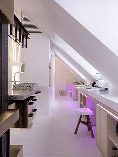 TD BEAM KITCHEN - Designed by Tom Dixon in collaboration with Danish artisan manufacturers, Ekoij Small Attic Room, Attic Spaces, Attic Playroom, Small Spaces, Attic Design, Küchen Design, Design Ideas, Interior Design, Attic Renovation