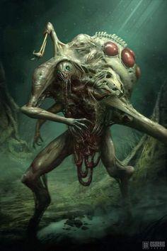 Monster Art, Monster Concept Art, Fantasy Monster, Monster Design, Cthulhu, Cool Monsters, Horror Monsters, Dark Creatures, Mythical Creatures