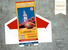 2016 Super Bowl 50 Ticket Invitation by ToBeTia on Etsy