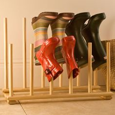 The Boot Kidz | Pine Wellington Boot Racks and Stands