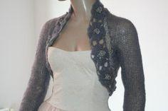 Grey Shrug Crochet Bolero, Knit Cowl Shrug, Lace Shrug, Mohair Sleeve Sweater Shrug, Winter Bridal Shrug Bolero Jacket / S - M - L Grey Shrug, Lace Shrug, Wedding Shrug, Bridal Bolero, Bridal Cover Up, Bolero Jacket, Knit Cowl, Shrug Sweater, Knitting