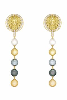 """Chanel """"Lion Talisman"""" earrings in yellow gold set with brilliant-cut diamonds and multi-coloured cultured pearls, from the Sous le Signe du Lion High Jewellery collection."""