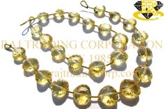 Citrine Concave Cut Heart (St. Drill) (Quality AA) Shape: Heart Concave Cut Length: 18 cm Weight Approx: 11 to 13 Grms. Size Approx: 10.5 to 12 mm Price $46.00 Each Strand