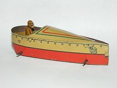 Vintage Tin Penny Toys - German Meier Speed Boat Litho Tin Penny Toy Antiques Toy