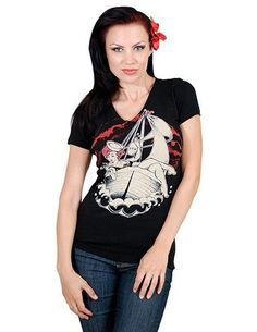 Rock Steady Sailors Demise V Neck Rockabilly Psychobilly Punk Womens Tee Shirt