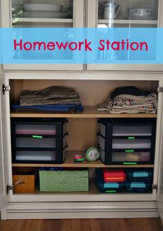 Easy family homework station with a few bins you may already have - costs little to no cash.  Labels with bright color backgrounds to stand out and help stay organized. #client @DYMO