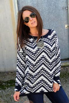 Cozy Aztec Sweater {Navy}