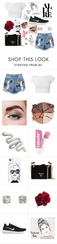 """Untitled #131"" by dzana-saric ❤ liked on Polyvore featuring Disney Stars Studios, Helmut Lang, Avon, lilah b., Casetify, Prada, NIKE and CLUSE"