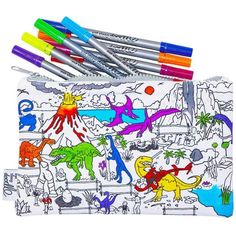 Dinosaur Pencil Case. One of the best gifts for kids who love dinosaurs and arts & crafts is this fun color in dinosaur pencil case. Cool Pencil Cases, Cool Gifts For Kids, Fabric Markers, Crazy Kids, Fun Learning, Cool Toys, Colored Pencils, Best Gifts, Doodles