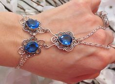 Blue Sapphire Slave Bracelet Ring Faceted by TheMysticalOasisGlow, $45.00