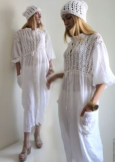 """Купить Платье-рубашка из хб пряжи и льняной марлевки """"Шум"""" - белый, однотонный, богемный стиль"""