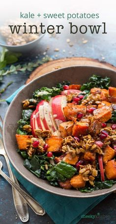 Bring a little bliss into your dinner routine with this bowl of roasted  sweet potatoes, honey brickle and massage kale. It's like eating at your  favorite veganish restaurant. Only you can do it in your slippers. #healthy #dinner #healthyrecipe #winterdinner #sweetpotato #buddhabowl #blissbowl #vegetarian #veganfriendly #vegetarianrecipe
