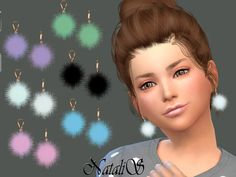 The Sims Resource: Child Fur ball earrings by NataliS • Sims 4 Downloads