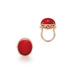 CORAL AND DIAMOND RING Coral Ring, Gemstone Rings, Gemstones, Diamond, Jewelry, Jewlery, Gems, Jewerly, Schmuck
