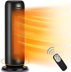 Space Heater - LONOVE 1500W Ceramic Tower Heater PTC Fast Heating Portable Electric Space Heater for Bedroom Office Desk Small Large Room Indoor Heaters with Oscillating Thermostat Remote ECO Mode Bedroom Office, Office Desk, Best Space Heater, Tower Heater, Remote, Electric, Indoor, Ceramics, Interior