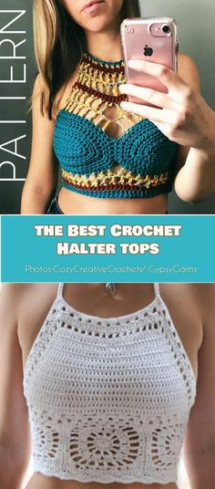 Crochet Top Patterns The Best Crochet Halter Tops - Crochet Patterns, Free Patterns Crochet Summer Tops, Crochet Halter Tops, Crochet Shirt, Diy Crochet Top, Crochet Style, Crochet Bikini Top, Crochet Ideas, Bralette Pattern, Crochet Woman