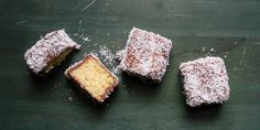 Lamingtons - an Australian favorite -a cube of butter cake dipped in chocolate, then rolled in coconut flakes; some versions are filled with cream or jam. Candy Recipes, Baking Recipes, Cookie Recipes, Dessert Recipes, Baking Ideas, Dessert Ideas, Sweet Recipes, Lamingtons Recipe, Cake Dip