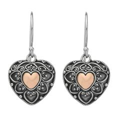 Gorgeous! LOVE Najo jewellery people!! Intricately crafted in oxidised sterling silver, a lovely 18 carat gold-plated heart takes centre stage.   14mm x 25mm hearts fixed hook