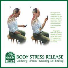 Adviezen van zelfzorg ter voorkoming van body stress.!  Hoe is uw houding bij het gebruik van iPhone of iPad?  A of B