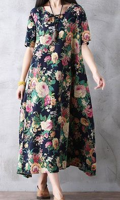 Women loose fit over plus size retro ethic flower dress maxi long dress tunic #Unbranded #dress #Casual