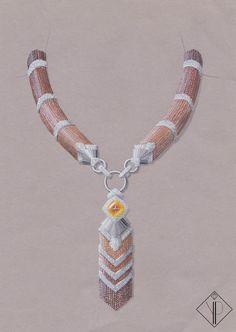 Collier Gemme d'Afrique, Collection Tour du monde, Or Blanc, Diamants, Perles d'Ambre et de Citrine, Topaze Taille Pain de sucre. Mai 2014.