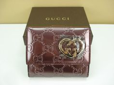 GUCCI Metallic Purple Patent Leather French Wallet With Gucci Heart NIB #Gucci Sale $247.50