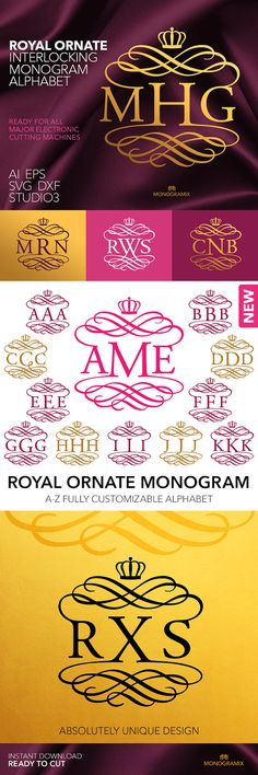 MONOGRAM ALPHABET: Royal Ornate Interlocking Monogram Alphabet.  Includes the following file formats: SVG, Studio3, DXF, EPS and Ai.  With this Royal