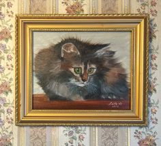 "CAT original oil painting on canvas, 8""x10"" framed"