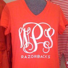 Mrs. Polka Dot — Razorbacks Monogram T-Shirt